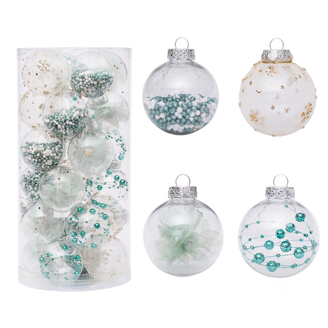 Good Service Factory Directly Christmas tree Ornaments Decoration Glitter Plastic 6 cm Green Christmas Ball