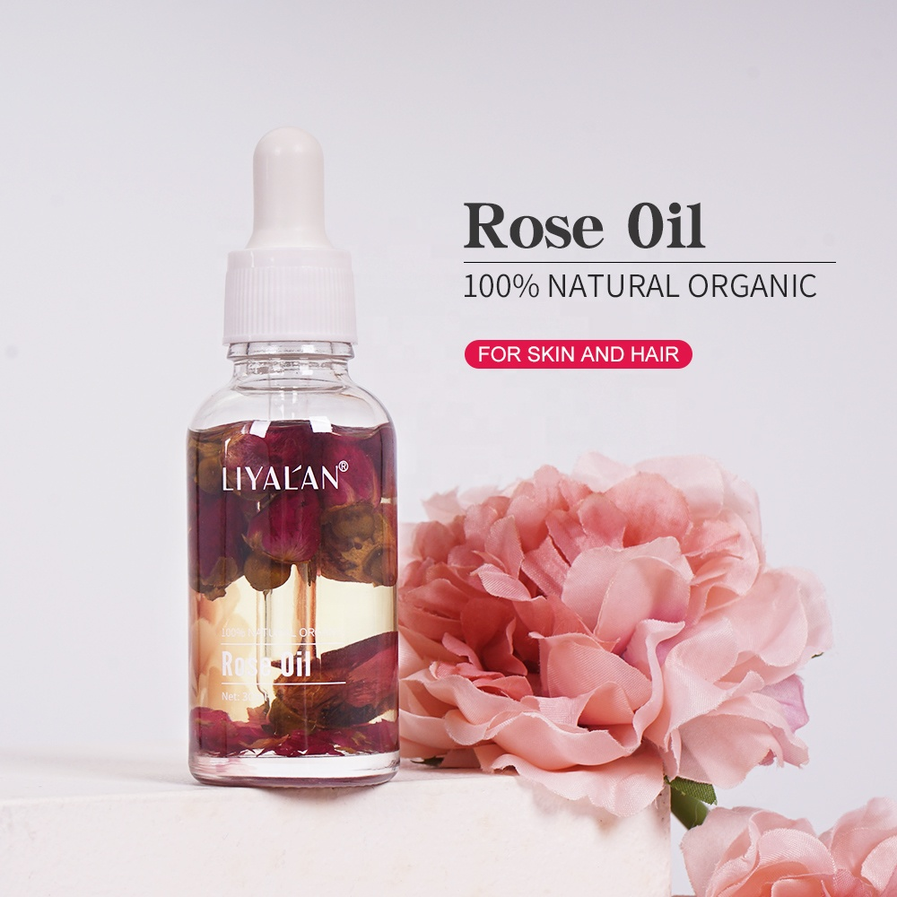 Private Label Natural Organic Essential Rose Petals Oil Serum 100% Pure For Face Body And Hair