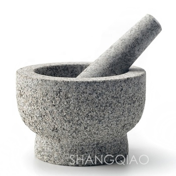 Amazon Hot Selling Factory Wholesale High Quality Natural Stone Herb and Spice Grinding Tool Granite Mortar and Pestle Set