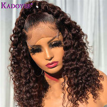 Цветные человеческие волосы, парики, глубокий кудрявый парик из человеческих волос, Малайзия, 13х4 фронтальный парик для женщин, Remy, короткие ...(Китай)
