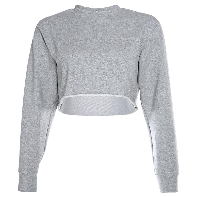Лидер продаж, Женский хлопковый тонкий свитер с длинным рукавом, укороченный топ, Женская Повседневная Блузка для дам