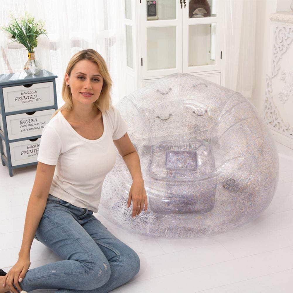 Inflatable Chair Clear Inflatable Chair with Sequin /Glitter Foldable Sofa for Kids Teen Room Ultra Comfortable Waterproof