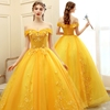 off shoulder lace ball gown yellow