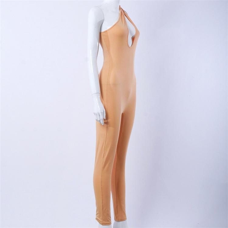 DUODUOCOLOR женский весенний Новый однотонный Асимметричный комбинезон на одно плечо без рукавов, тонкий комбинезон с воротником-лодочкой D97464