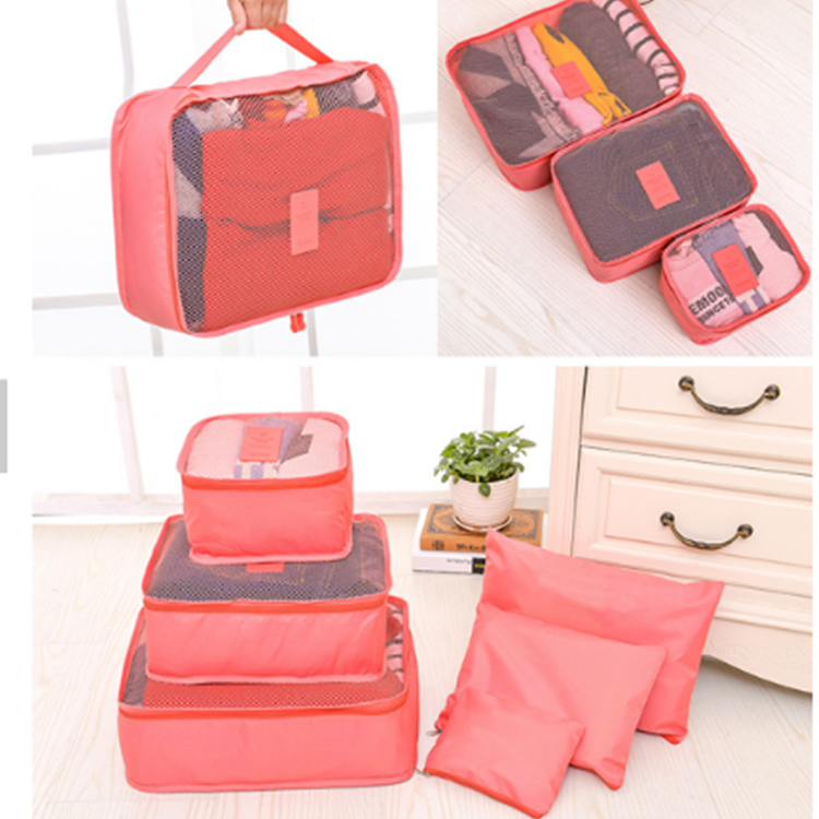High quality Foldable Luggage Compression Pouches 6 Sets Packing Cubes travel bag