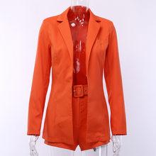 Женский комплект из двух предметов, блейзер с длинным рукавом и шорты, Повседневная однотонная офисная одежда MD0172(Китай)
