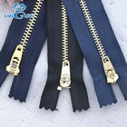 3#/5# brass YG zipper with semi auto lock slider for jeans