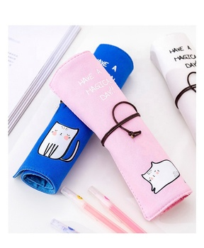 Promotion Gift Pen Bag Roll Up Pencil Pouch For Drawing Pencil Holder Canvas Kid Pencil Bag