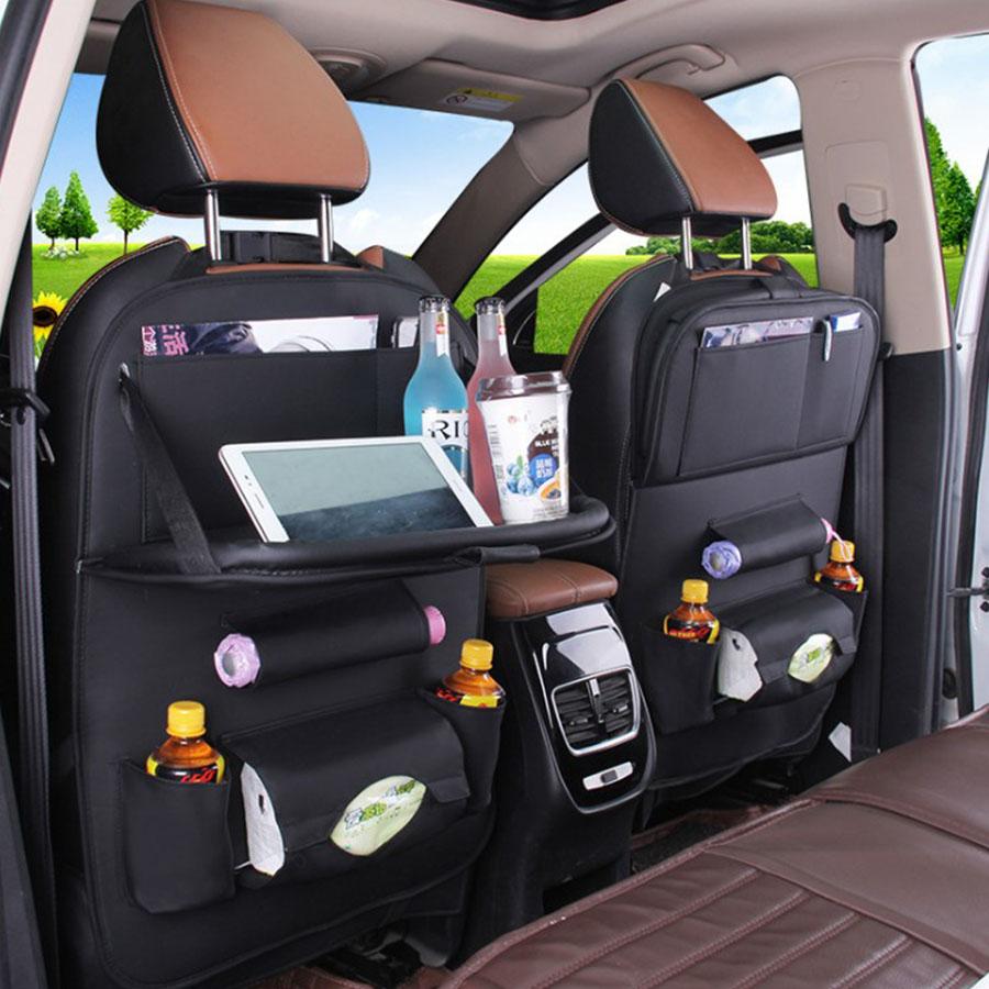 Multifunction Leather Car Back Seat Hanging Storage Pocket Organizer Phone Pad Tissue Holder Foldable Tray Table