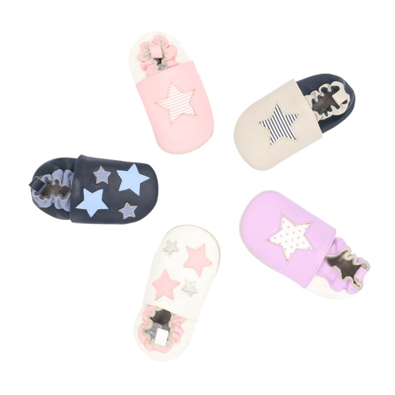 100% натуральная кожа подошва верх Мягкая Унисекс звезда патч симпатичная унисекс складная обувь для малышей