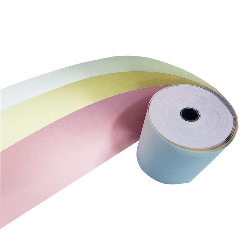 2 слоя 76x70 мм белая + желтая самокопирующаяся Ncr безкарбоновая печатная бумага Ncr бумажные рулоны безкарбоновая бумага рулоны
