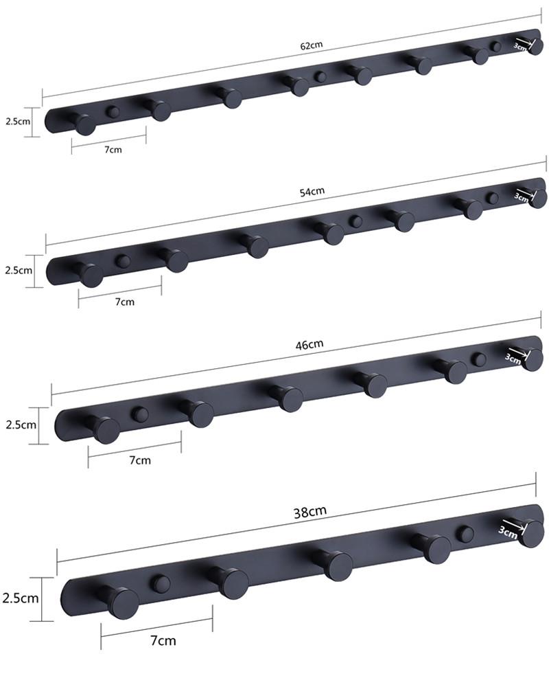 Без сверления, Бесплатная палка, сатин, графит, черный, нержавеющая сталь, 3, 4, 5, 6, 7, 8, настенные крючки для пальто