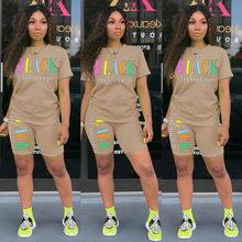 Лето 2020, Casusl, Женский комплект из двух предметов с буквенным принтом, короткий укороченный топ + штаны, свободная спортивная одежда, спортивн...(Китай)