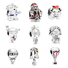 Sterling Silver Silver Wholesale 925 Sterling Silver Beads Santa Christmas Charms Fit Original Pandora Bracelets Necklaces Women DIY Jewelry