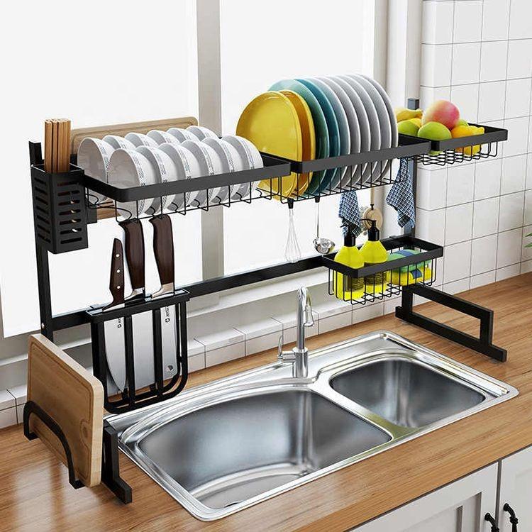 2 уровня сушилка для посуды из нержавеющей стали сливная полка кухонный Органайзер