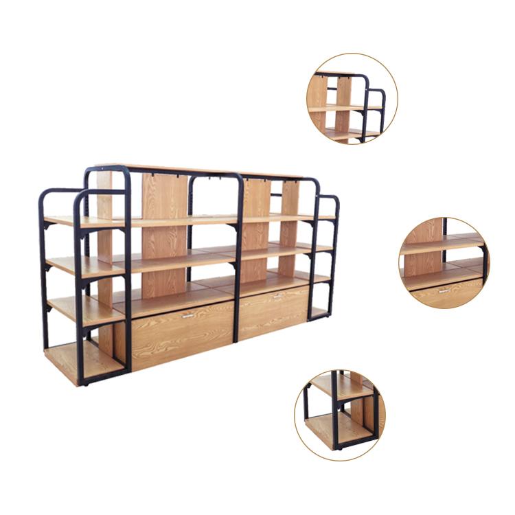 China Manufacturer New Style Wooden Steel Display Shelf Good-looking Gondola Shelving Racks for Supermarket