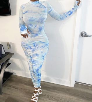 JY-8740 2020 Summer Fashion Women Casual bandage Dresses Tie Dye Long Sleeves Maxi Dress