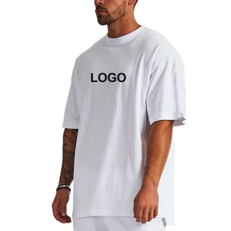 Оптовая продажа OEM, Мужская футболка оверсайз из 100% хлопка с принтом логотипа на заказ, мешковатая простая футболка