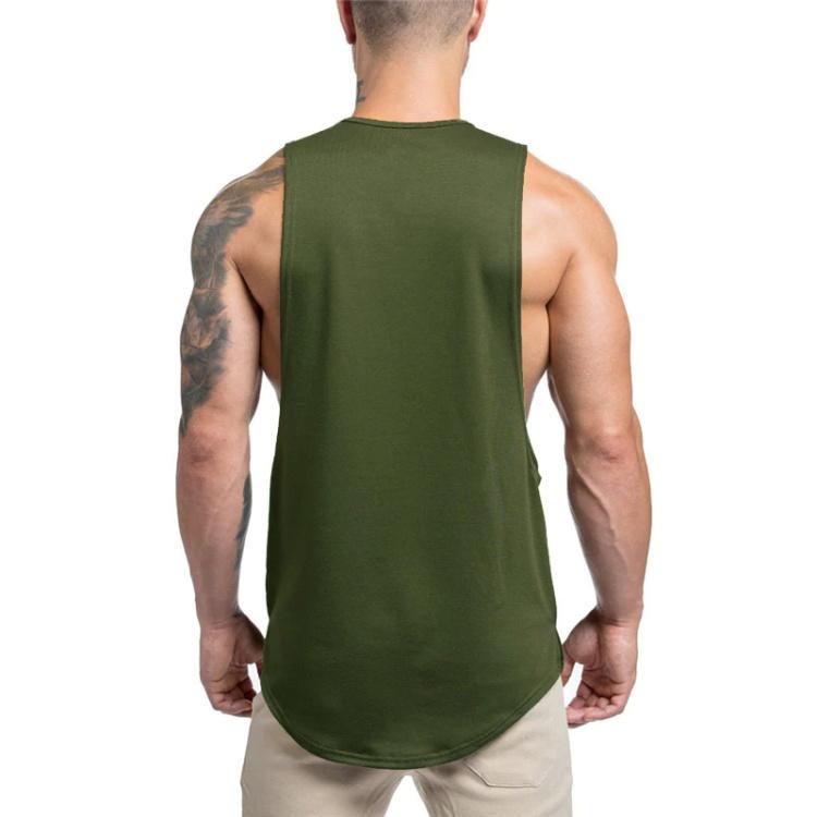 Custom sleeveless 100% cotton elongated long line tank top for men