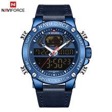 NAVIFORCE Топ Роскошный бренд кожа Спорт двойной дисплей мужские часы мужские s Аналоговые Цифровые Кварцевые водонепроницаемые часы Relogio Masculino(Китай)
