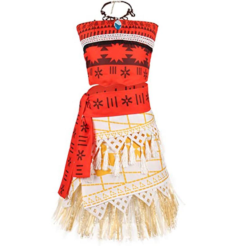 ชุดกระโปรงชุดเจ้าหญิงโมอาน่า,ชุดคอสเพลย์สำหรับเทศกาลฮาโลวีนพร้อมสร้อยคอ