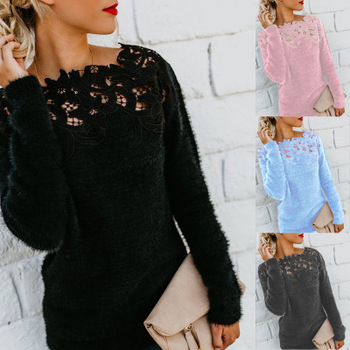 Solid Color Stitching Lace Long Sleeve Sweater Knitting Pullovers Women Tops Knitted Sweaters Woman Clothes Female Streetwear