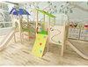 Wooden indoor playground with slides