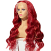 Red long lace front human hair