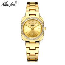 Женские кварцевые часы MISSFOX, классические водонепроницаемые часы золотого цвета с квадратным циферблатом 18 К, 2020(Китай)