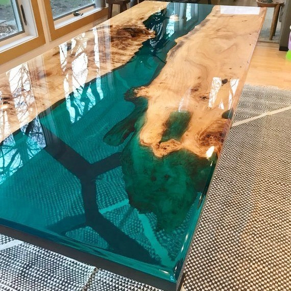 Luxury Coffee Solid Wood River design Dining table restaurant table Resin Epoxy table