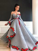 Асимметричное кружевное платье со смайликом в арабском стиле, с цветочным узором, для выпускного вечера, с длинными рукавами, вечернее плат...(Китай)