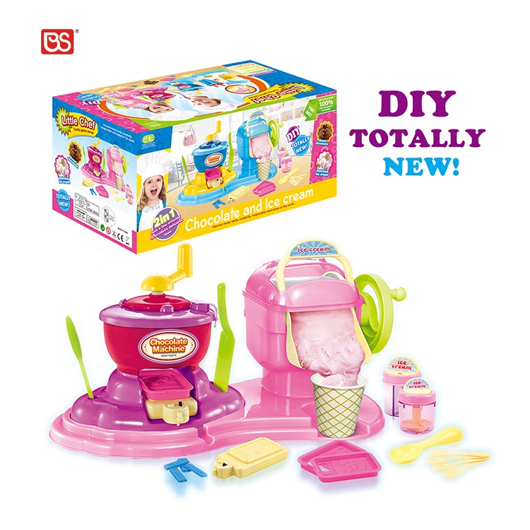New Function Electric Educational Cooking Set Diy Chocolate Ice Cream Machine Pretend Play Kitchen Toys For Kids