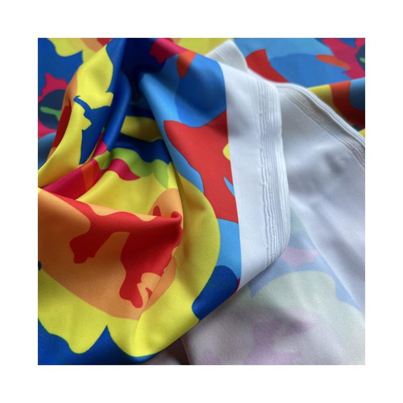 custom digital printed spandex repreve swimwear fabric with NO MOQ