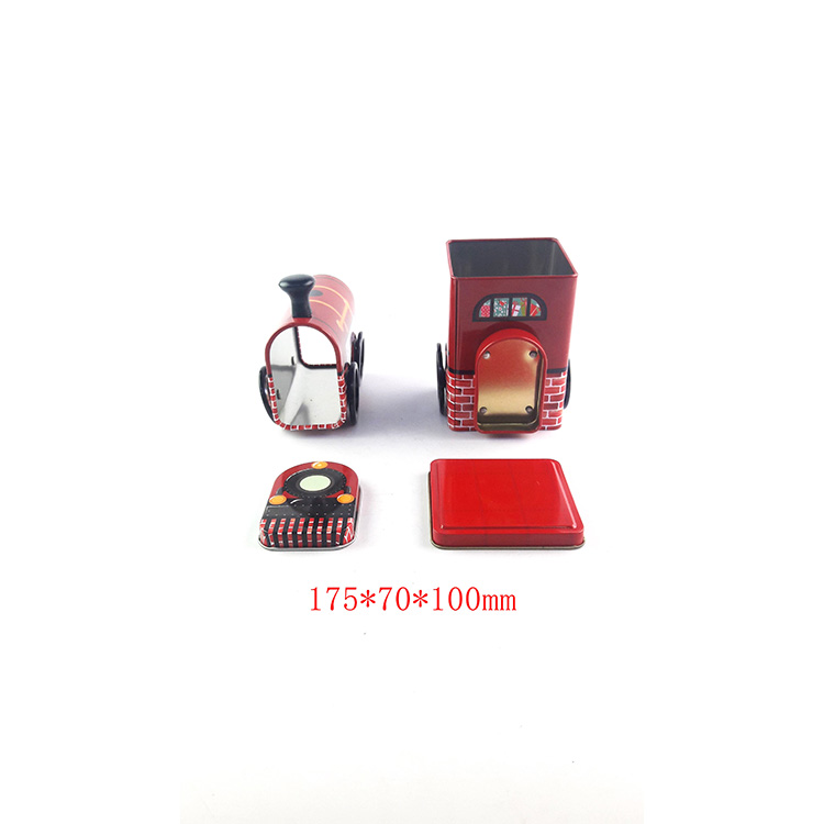 Guangzhou tin box making factory train shape tin box for sale candy tin