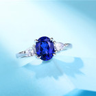 White Gold Ring High Quality Lab Grown Sapphire Oval Shape Moissanite Gemstone 14k White Gold Gemstone Ring
