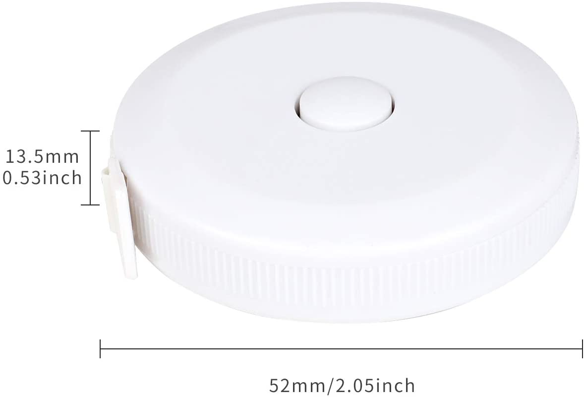 Tape Measure Retractable Measuring Tape Double Scale 60 Inch 150cm Soft Sewing Tape with Push Button White