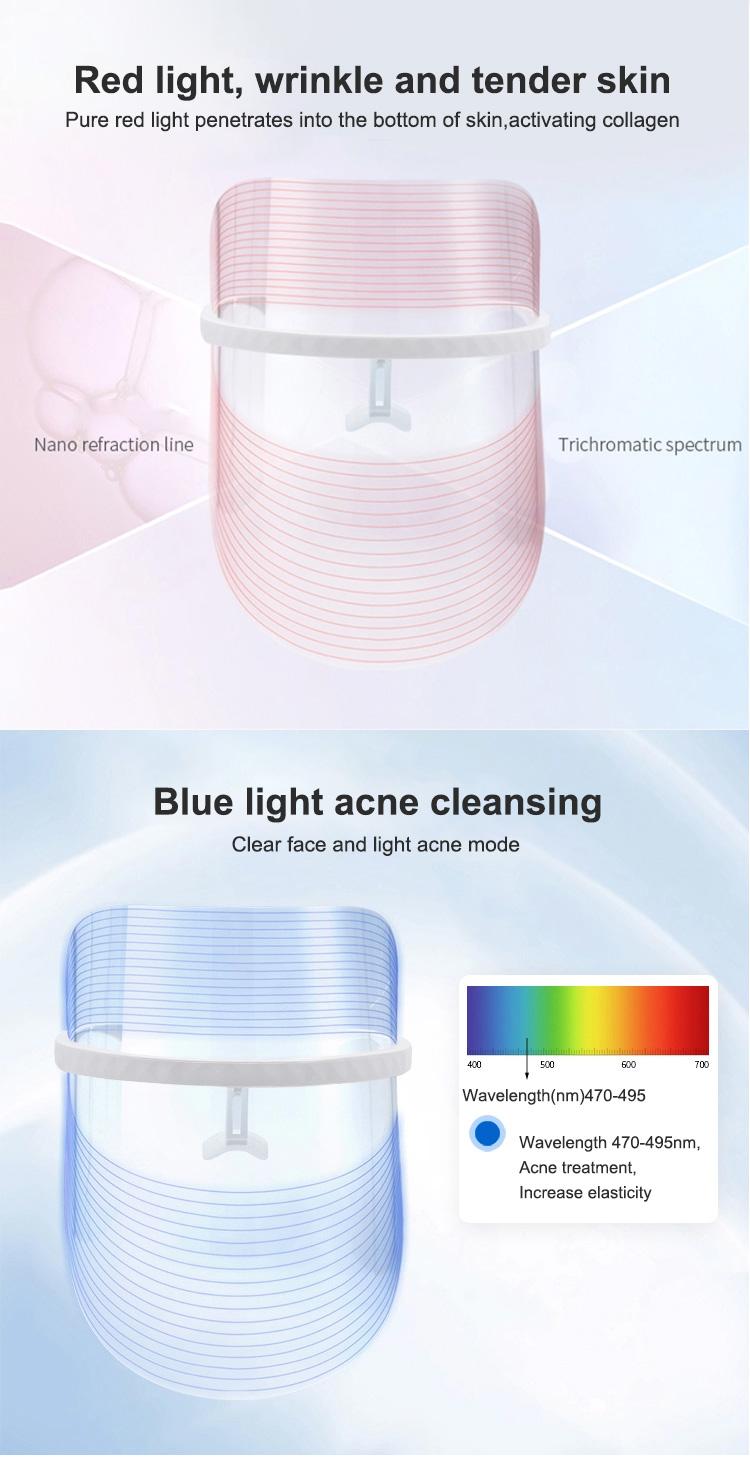 2020 PDT фотон светлая лицевая кожа Красота терапия 3 вида цветов Светодиодная светотерапия маска для лица Беспроводная светодиодная маска для лица