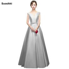 Платье с v-образным вырезом и двойным плечом для выпускного вечера, длинное платье трапециевидной формы, элегантная краска официальное вече...(Китай)