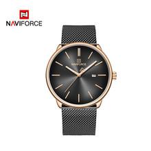 NAVIFORCE Лидирующий бренд, роскошные модные простые мужские часы из нержавеющей стали для пары, женские часы, мужские и женские кварцевые часы, ...(Китай)