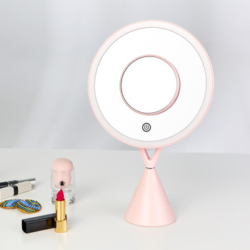 Lithium Battery Powered LED Makeup Mirror 5x magnification Desktop Vanity Espejos