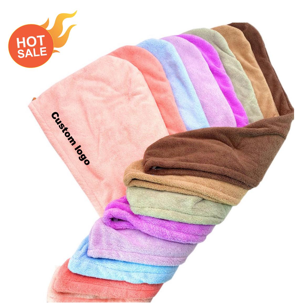 Оптовая продажа, тюрбан для волос из микрофибры, Хлопковое полотенце с вышивкой и логотипом, супервпитывающее полотенце для волос в ванную комнату