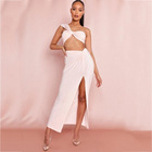 Clothing 2021 Dresses New Arrivals Tube Top Long Solid Color High Split Two-piece Sets Women's Suit Summer New Women's Clothing
