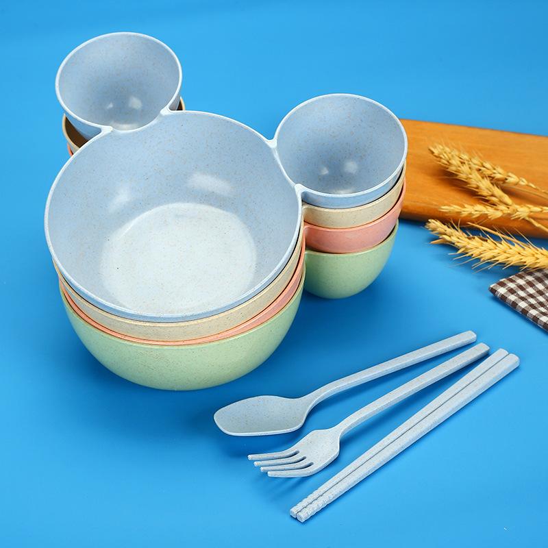 Детский мультяшный Ланч-бокс в виде мыши, Детская миска для кормления риса, пластиковая тарелка для закусок, посуда