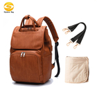 Premium pu Leather Diaper Bag Backpack,brown Diaper Backpack with Changing Pad,stylish design vegan leather baby bag nappy bag