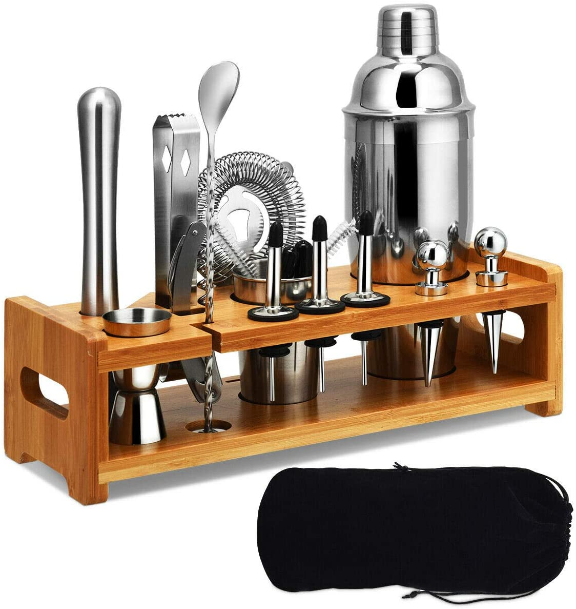 Martini Bartender Kit Copper Coated Rose Gold Stainless Steel Bar Set with Bamboo Stand