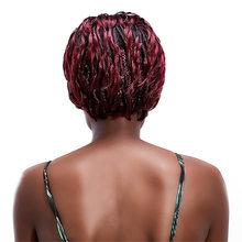 Бесплатная красота короткие плетеные темно-корни винно-красного плетения волос парик 12 ''синтетический красноватый афро коробка оплетка па...(Китай)