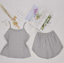 Женская Хлопковая пижама, летний комплект одежды для сна, майка и шорты(Китай)