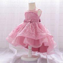 2020 летнее кружевное нарядное платье для маленьких девочек, детские сетчатые Свадебные платья без рукавов с цветочным рисунком, детская оде...(Китай)