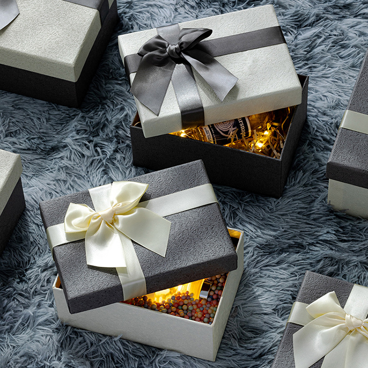 Luxury perfume packaging empty marble square gift cardboard boxes with lid and ribbon design