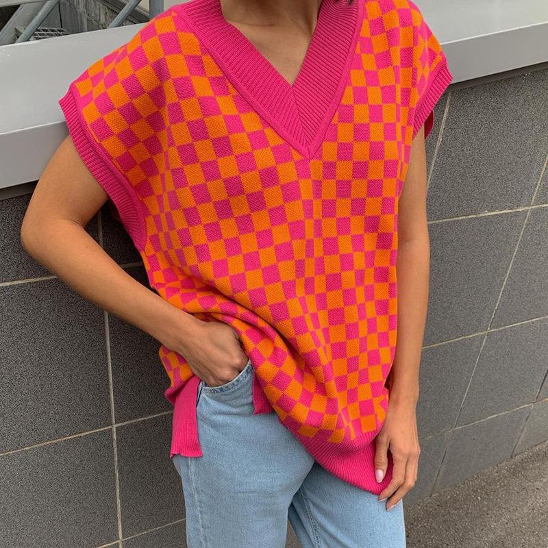 2021 autumn loose fashion casual V-neck lattice pullover knitted Checkerboard sweater vest